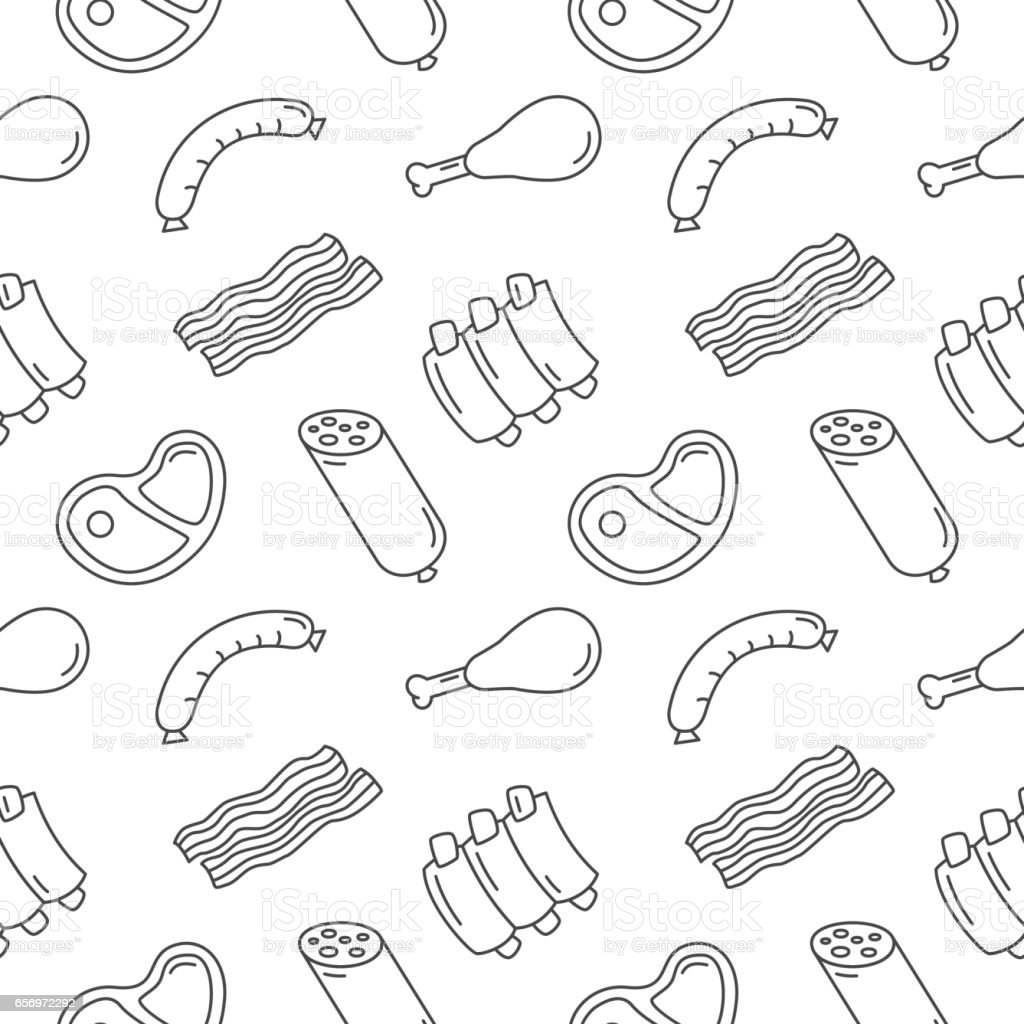 Meat Food Seamless Pattern Vector Background vector art illustration