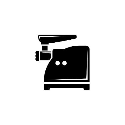 Meat Grinder, Electric Mincer, Chopper. Flat Vector Icon illustration. Simple black symbol on white background. Meat Grinder Electric Mincer Chopper sign design template for web and mobile UI element.