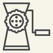 istock Meat grinder line icon. Manual mincer symbol, outline style pictogram on beige background. Old meat grinder tool sign for mobile concept and web design. Vector graphics. 1223344645