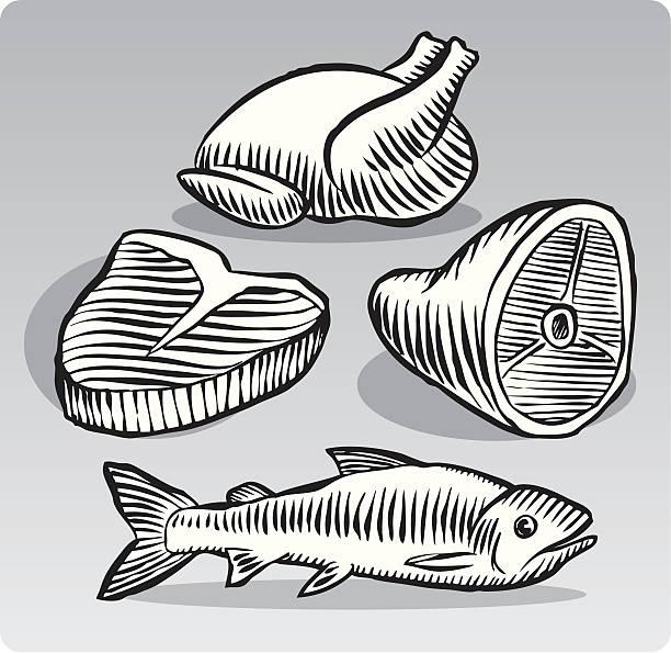 fleisch-gruppe - schweinebraten stock-grafiken, -clipart, -cartoons und -symbole