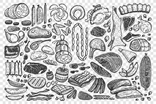 Meat hand drawn doodle set
