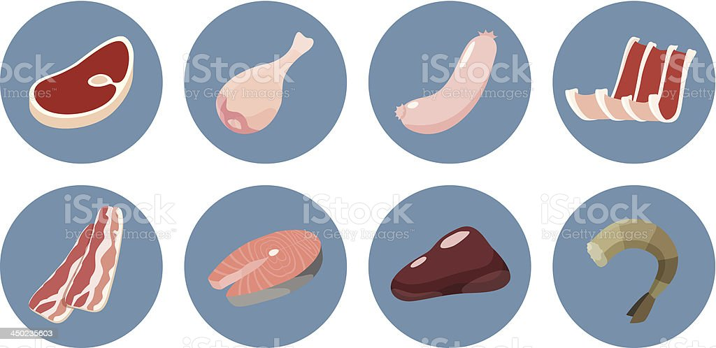 Meat icon set royalty-free stock vector art