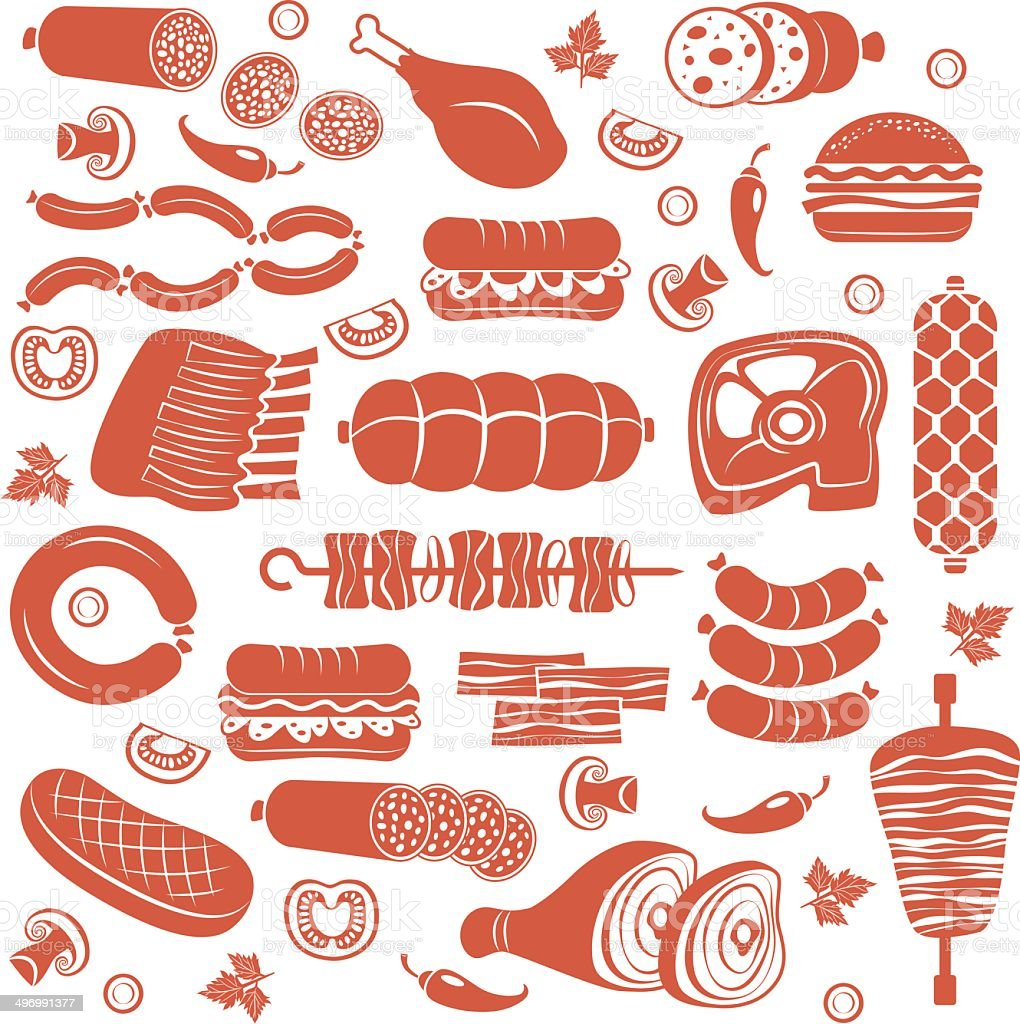 Meat icon set vector art illustration