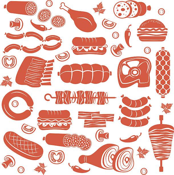 fleisch icon-set - roastbeef stock-grafiken, -clipart, -cartoons und -symbole