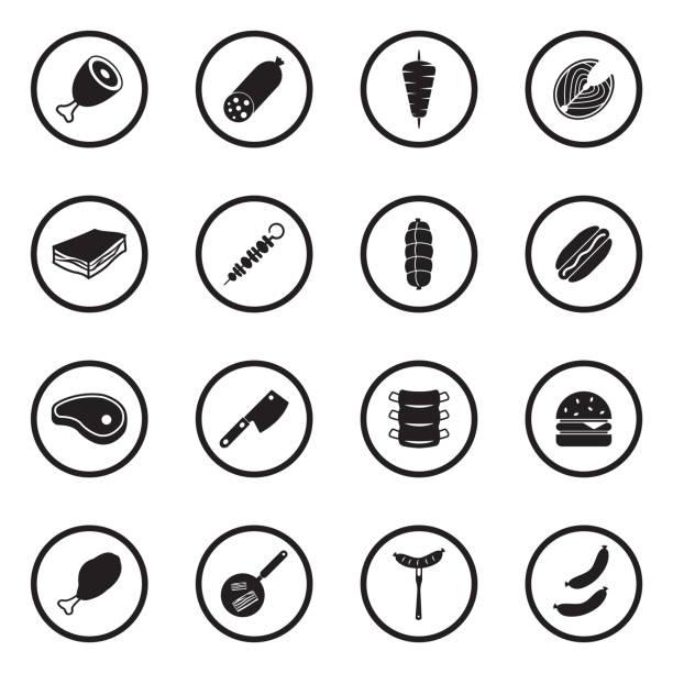 illustrazioni stock, clip art, cartoni animati e icone di tendenza di meat icons. black flat design in circle. vector illustration. - mortadella