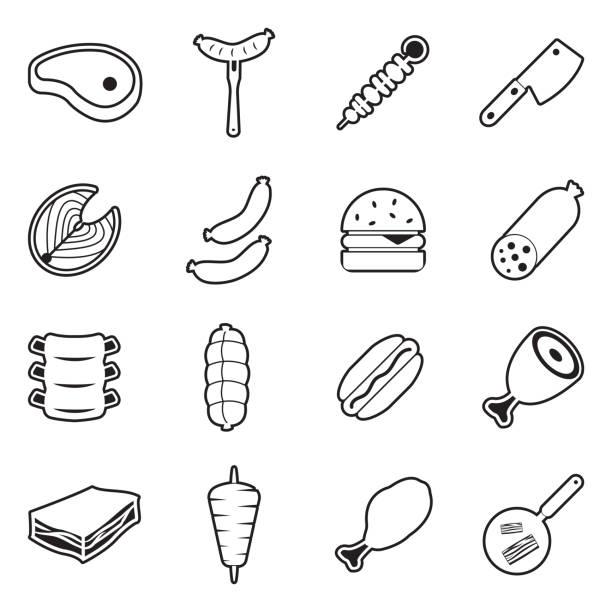 illustrazioni stock, clip art, cartoni animati e icone di tendenza di meat icons. line with fill design. vector illustration. - mortadella