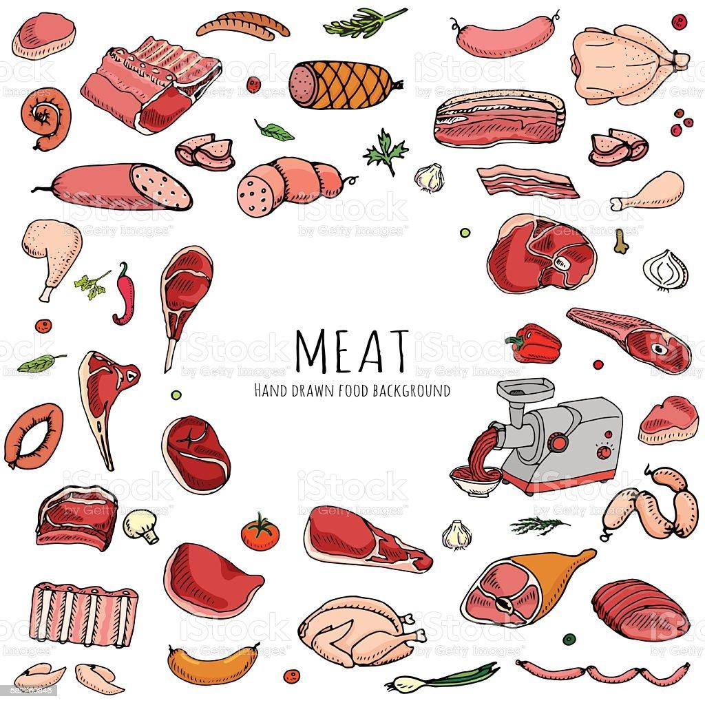 Meat icons set vector art illustration