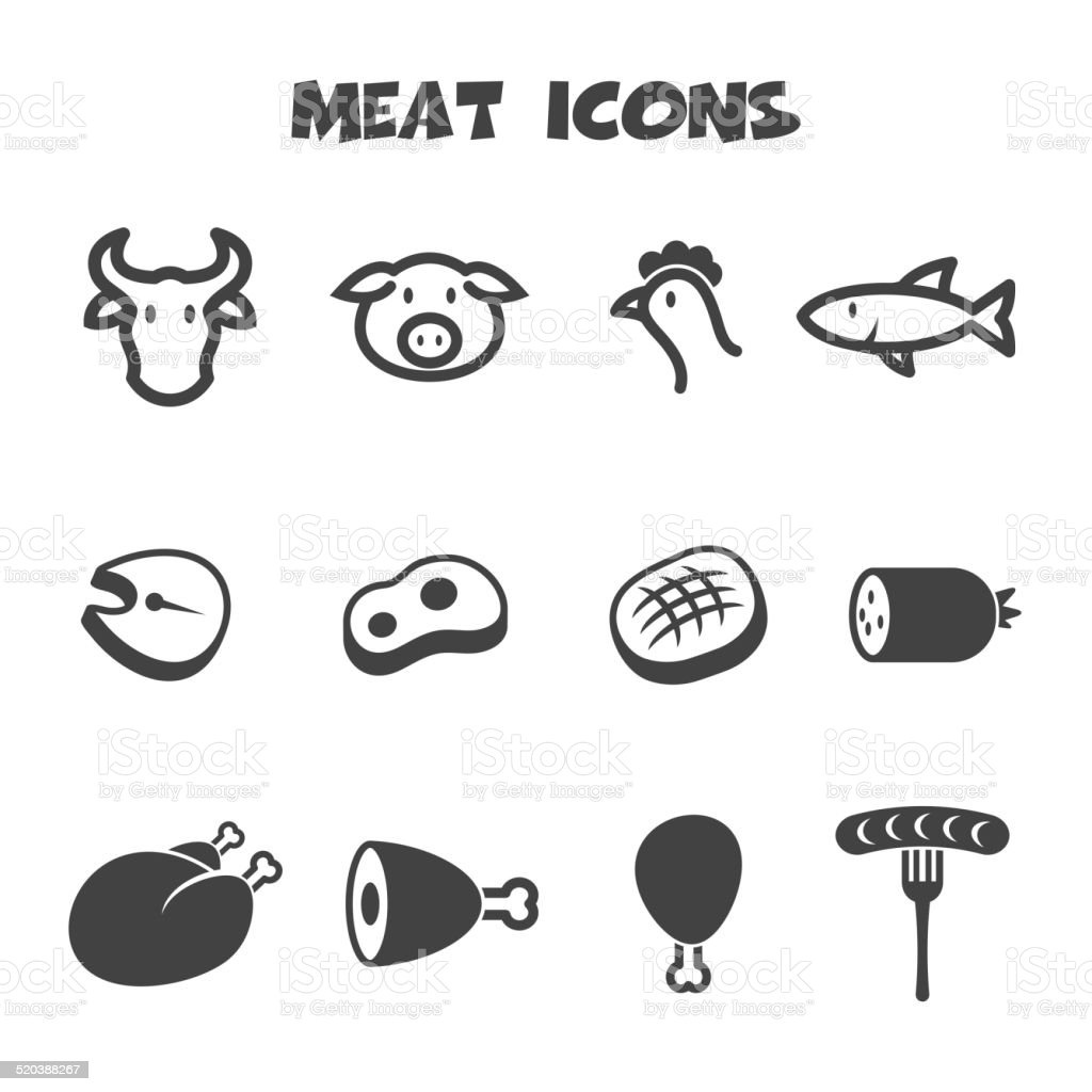 meat icons vector art illustration