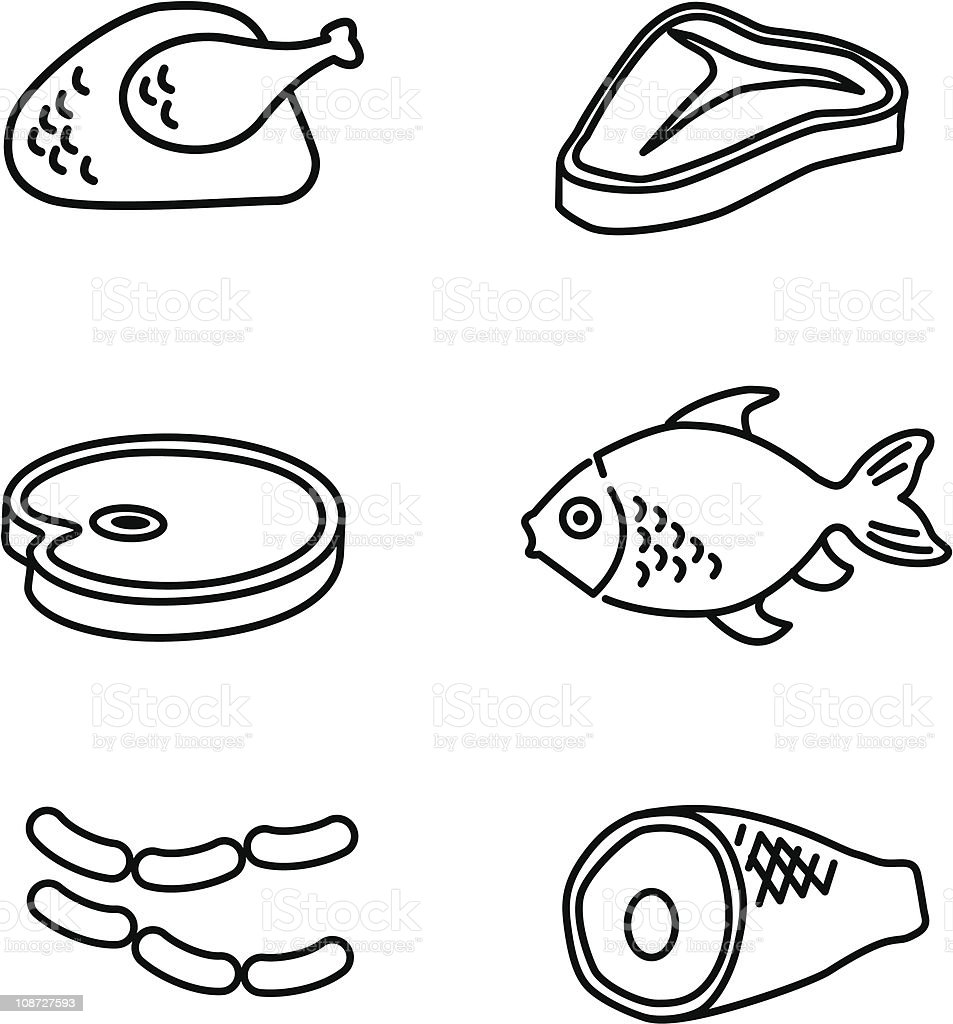 meat icons line art royalty free stock vector art