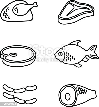 Meat Iconsline Art Stock Vector Art & More Images of Clip