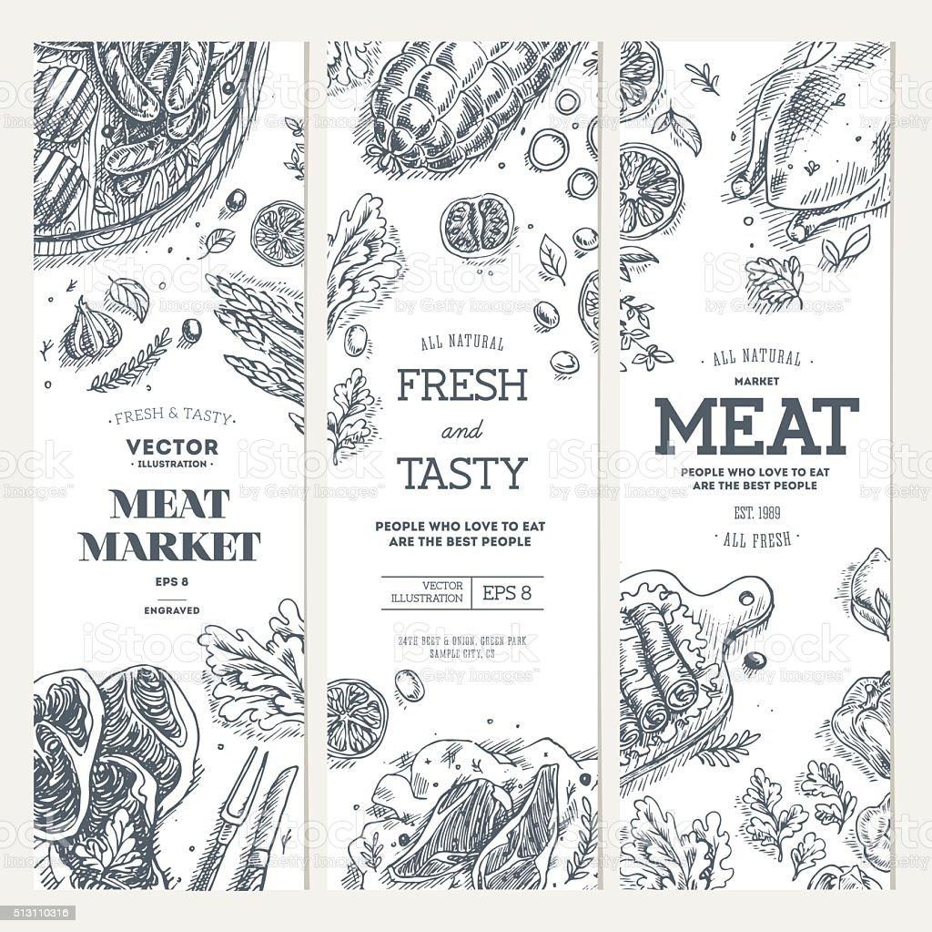 肉販売バナーコレクションです。リニアグラフィック。トップビューヴィンテージのイラスト ベクターアートイラスト