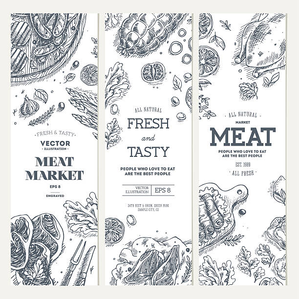 Meat market  banner collection. Linear graphic. Top view vintage illustration vector art illustration