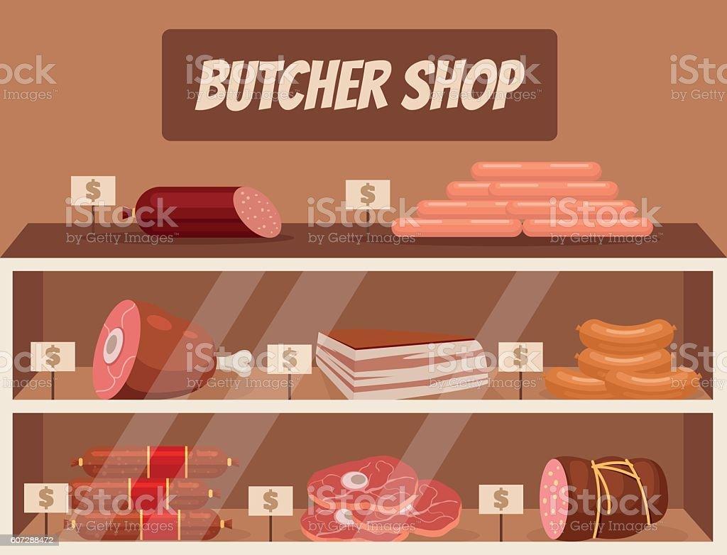 Meat market. Butcher shop. Vector flat cartoon illustration vector art illustration
