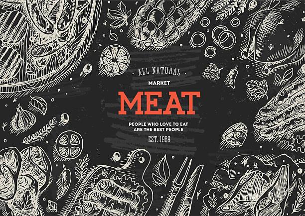 ilustraciones, imágenes clip art, dibujos animados e iconos de stock de bastidor de mercado de la carne. lineal gráfico. ilustración vintage de vista superior - comida cruda
