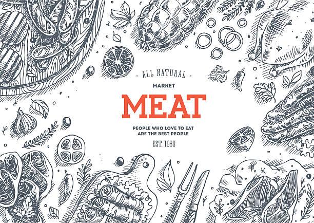 bildbanksillustrationer, clip art samt tecknat material och ikoner med meat market  frame. linear graphic. top view vintage illustration - fläsk biff kyckling