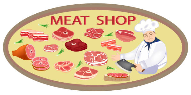 fleischmarkt. glücklich metzger in uniform frischfleisch wirbt. rohes fleisch und fleischerzeugnisse. vektor - roastbeef stock-grafiken, -clipart, -cartoons und -symbole