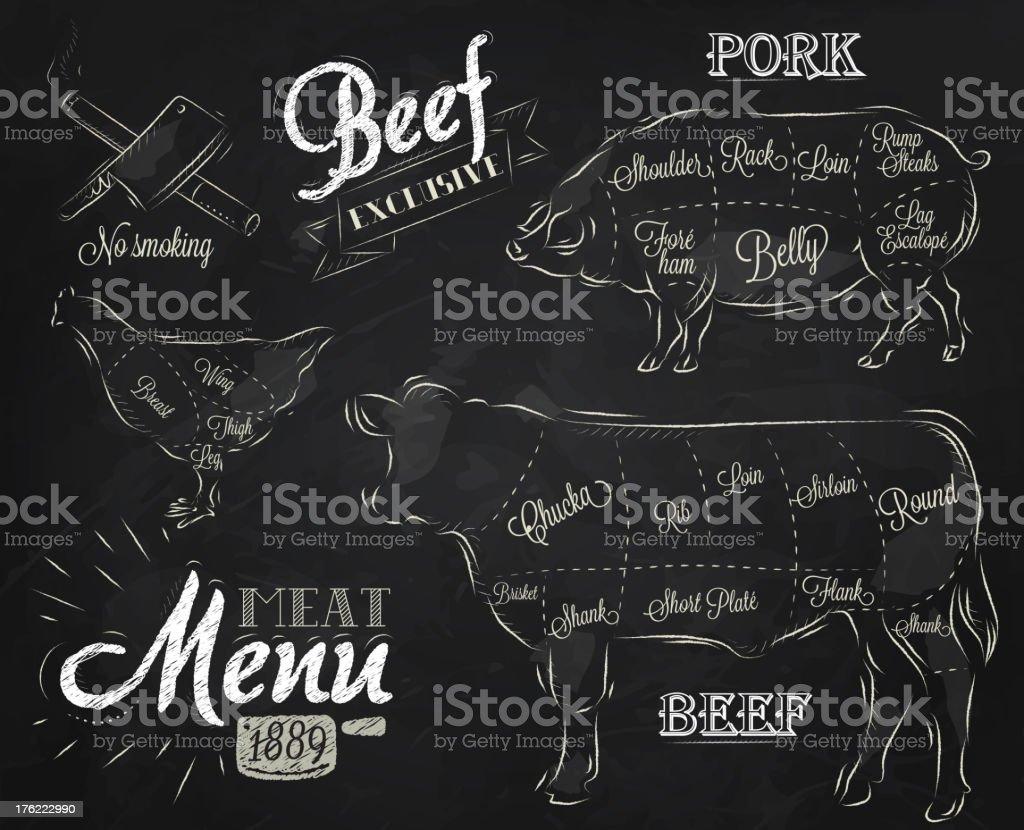 Meat Menu chalk royalty-free stock vector art