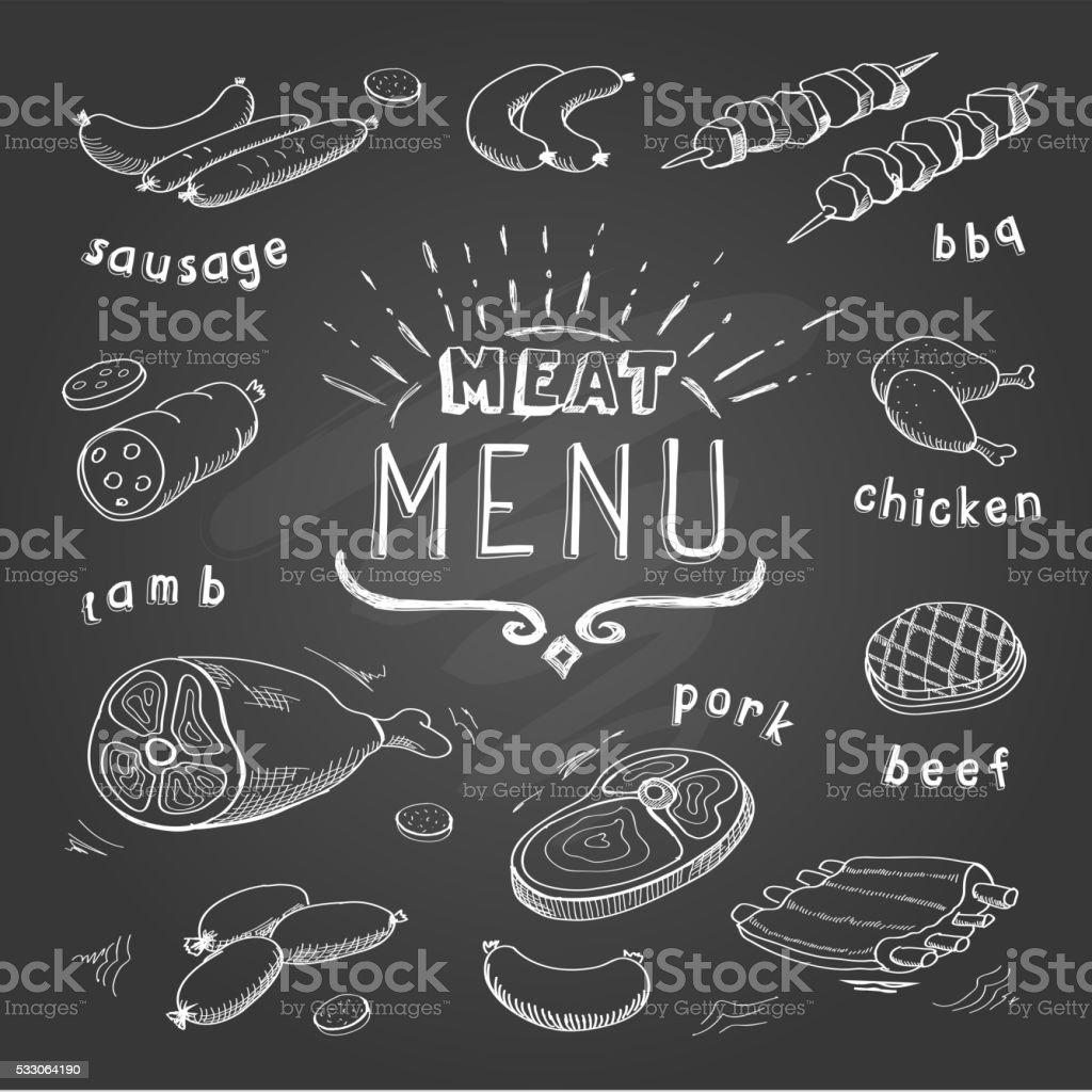 肉料理に 黒板.牛肉、豚肉、鶏肉、ラムのお料理です。 ベクターアートイラスト