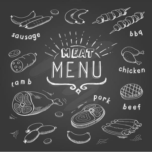 ilustrações, clipart, desenhos animados e ícones de menu de em chalkboard. carne bovina, carne suína, frango, carne de cordeiro. - carne