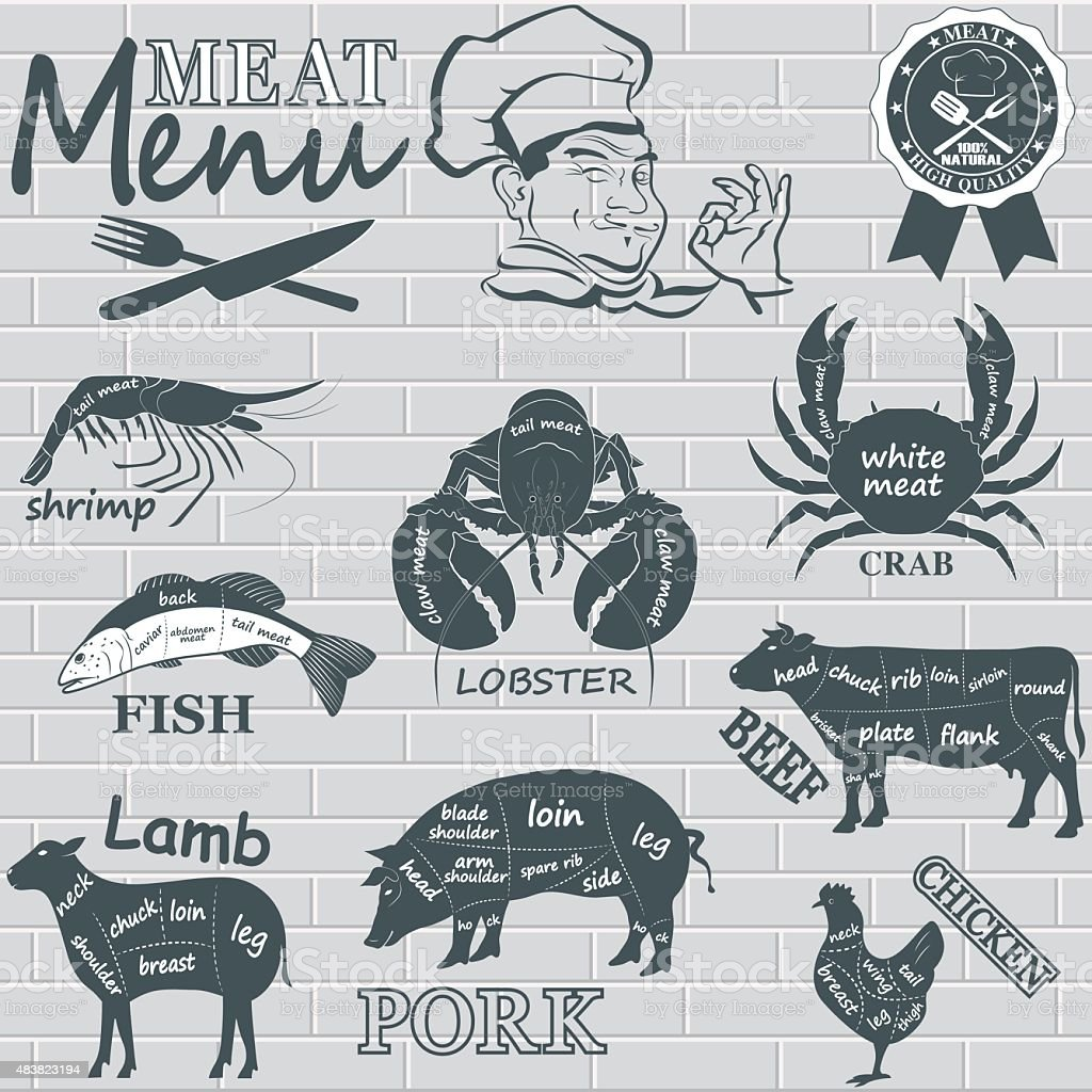 Meat menu vector art illustration