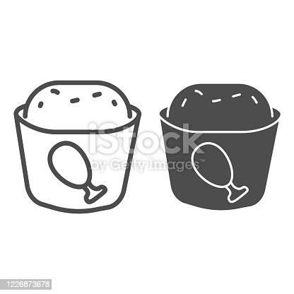 istock Meat muffin line and solid icon, bakery concept, cupcake with chicken sign on white background, fast food muffin icon in outline style for mobile concept and web design. Vector graphics. 1226873678