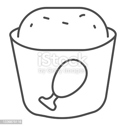 istock Meat muffin thin line icon, bakery concept, cupcake with chicken sign on white background, fast food muffin icon in outline style for mobile concept and web design. Vector graphics. 1226875116