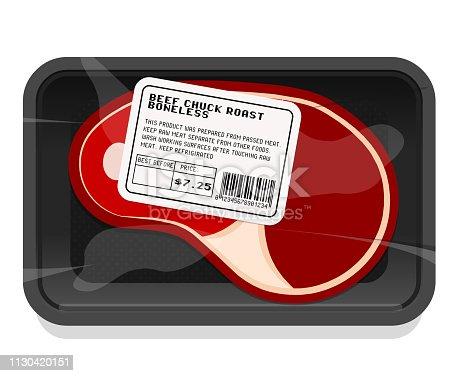 Vector meat packaging illustration