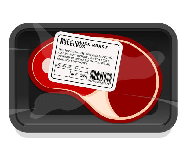meat packaging - delis stock illustrations