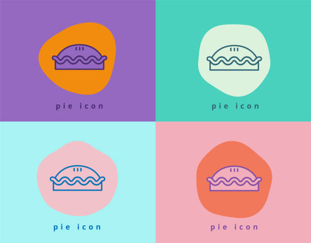 Meat Pie and Apple Pie Icon Symbol in Fun and Creative Color Block Style vector art illustration