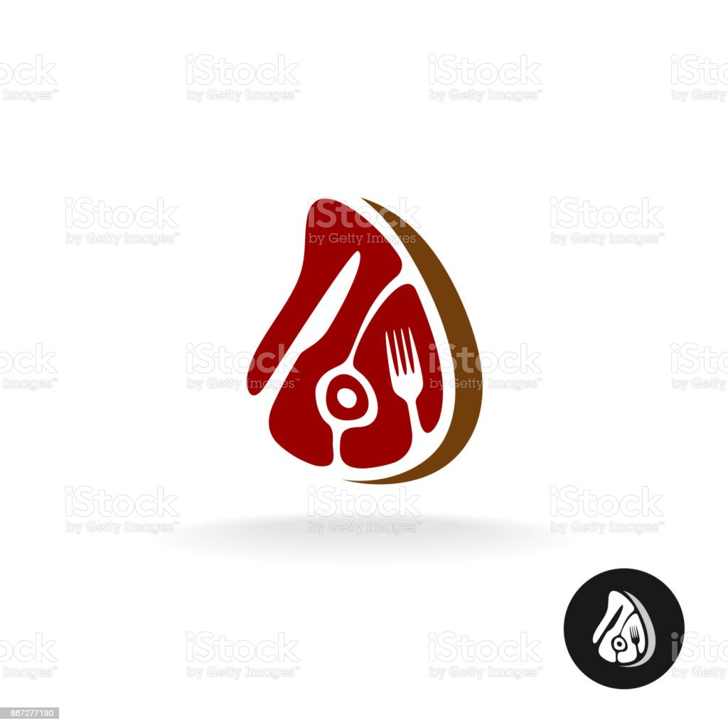 Meat piece with fork and knife symbol. Restaurant meat menu or far vector art illustration