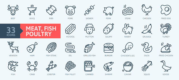 Meat, poultry, fish and eggs - minimal thin line web icons collection.