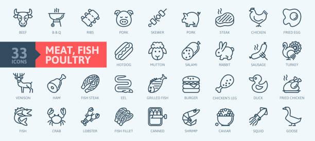 bildbanksillustrationer, clip art samt tecknat material och ikoner med kött, fågel, fisk och ägg-minimal tunna linje webb ikoner samling. - kött