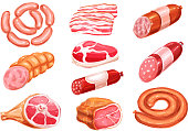 Meat product watercolor drawing set. Fresh beef steak, pork sausage, ham, bacon slice, salami, frankfurter, gammon and pepperoni sausage for healthy meat food, butcher shop and bbq party design