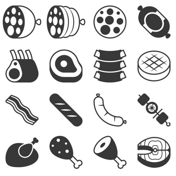 bildbanksillustrationer, clip art samt tecknat material och ikoner med kött produkter ikon i silhouette design - korv