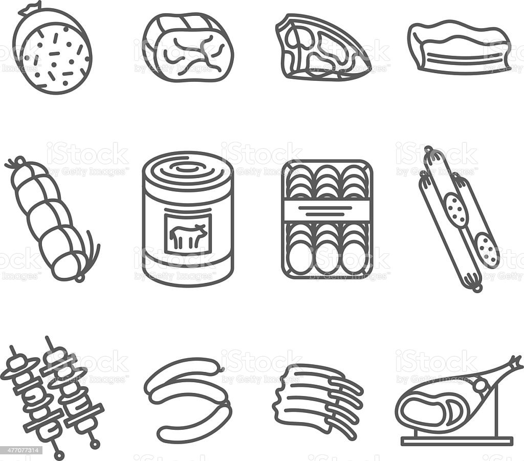 Meat Products Icon Set vector art illustration