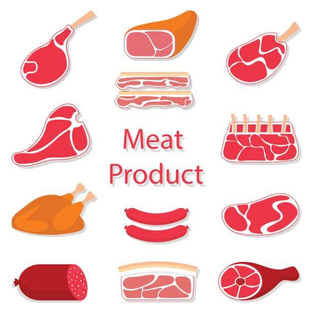 fleischerzeugnisse vektor-flache illustration - schweinebauch stock-grafiken, -clipart, -cartoons und -symbole