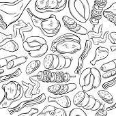 Seamless pattern with hand drawn sketch gastronomic meat products . Decorative vector isolated illustration in retro style for the design food meat production , brochures, banner, menu and market