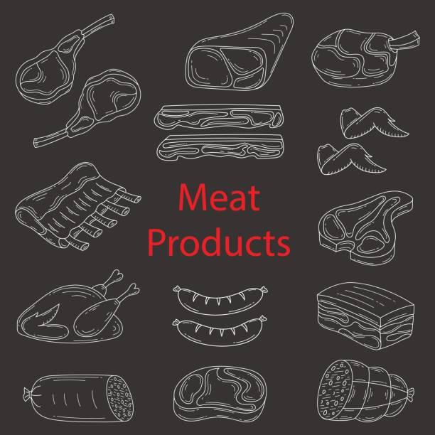 fleisch-produkte-vektor-skizze-illustration - schweinebauch stock-grafiken, -clipart, -cartoons und -symbole