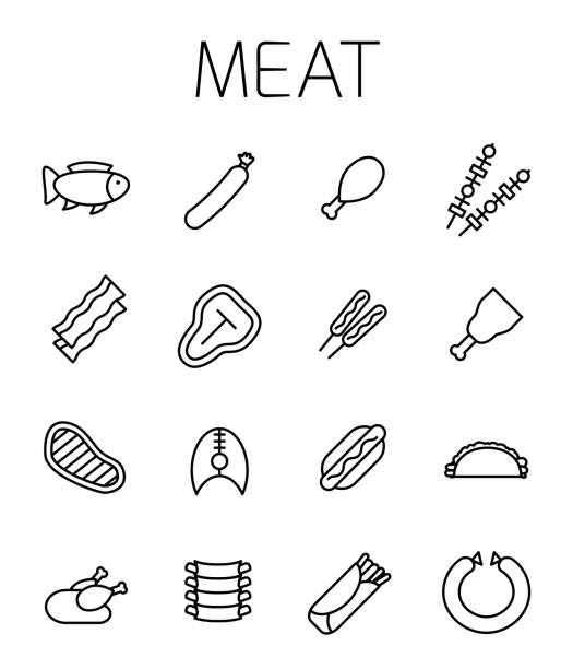 illustrazioni stock, clip art, cartoni animati e icone di tendenza di meat related vector icon set. - chef triste