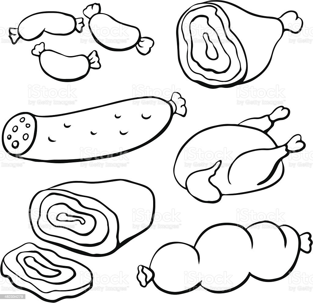 Meat, sausages and poultry royalty-free meat sausages and poultry stock vector art & more images of animal body part