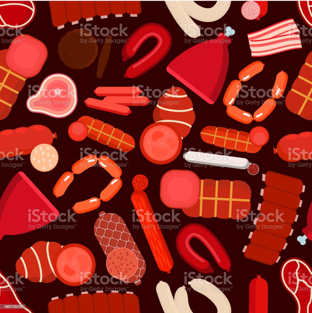 Meat, sausages, bacon and ham seamless pattern vector art illustration