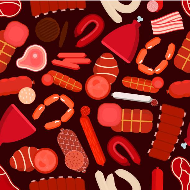 meat, sausages, bacon and ham seamless pattern - roastbeef stock-grafiken, -clipart, -cartoons und -symbole