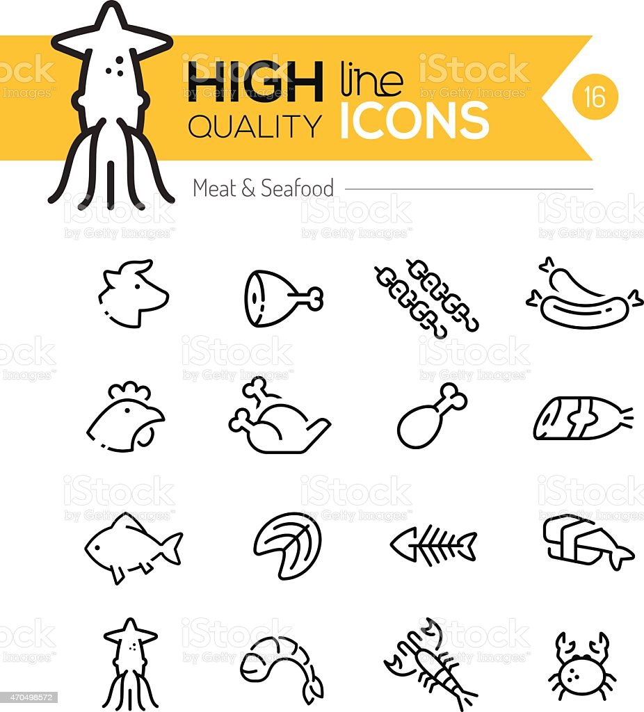Meat & Seafood Line Icons vector art illustration