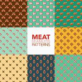 Meat Seamless Pattern Set
