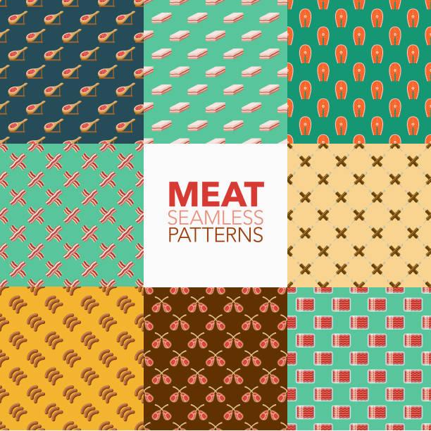 fleisch-nahtlose muster-set - schweinebauch stock-grafiken, -clipart, -cartoons und -symbole