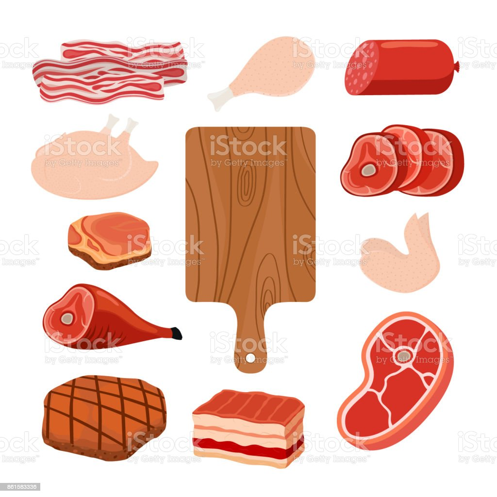 Meat set, cutting board. Cartoon flat style. Vector illustration vector art illustration