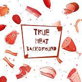 Cartoon meat set seamless pattern with inscription true meat background on plaque in center vector illustration