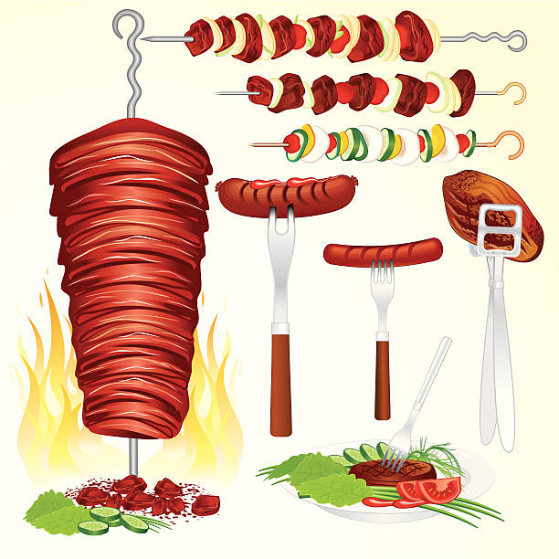 fleisch set - döner stock-grafiken, -clipart, -cartoons und -symbole