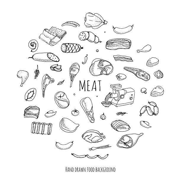 fleisch set - roastbeef stock-grafiken, -clipart, -cartoons und -symbole