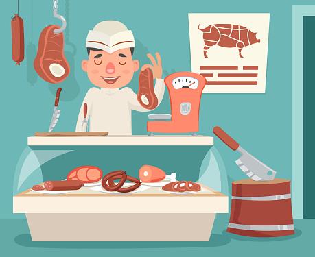 Meat Shop Counter Butcher Seller Retro Vintage Cartoon Character Icon Background Design Vector Illustration